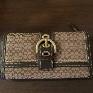 Coach Special Signature Brown Leather Shoulder Bag